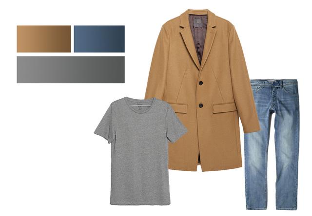 Kabát - 42.995 Ft (Zara), Farmer - 9995 Ft (Mango Man), Póló - 1795 Ft (Bershka)