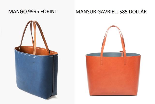 Nem téveszt meg senkit a Mango táskája, de hasonlít a Mansur Gavriel 585 dolláros (164 ezer forint) nagyméretű shopperére.