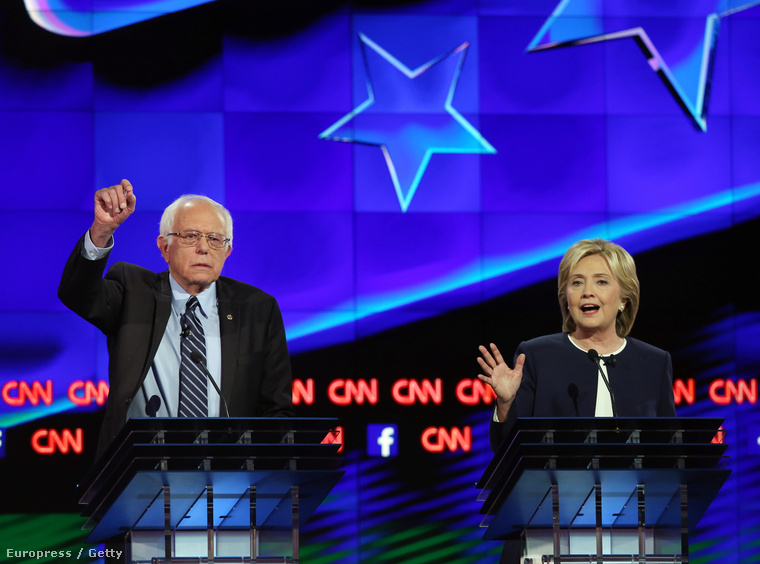 Bernie Sanders és Hillary Clinton a CNN-es elnökjelölt-vitán