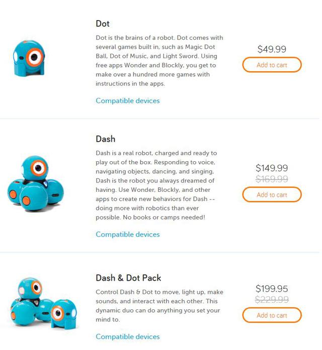 Dash és Dot külön, illetve együtt is kapható.