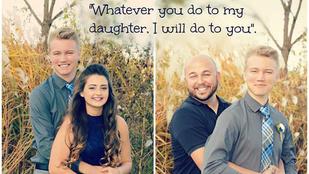 Jaj, vicces apuka lánya udvarlójának befenyítésével viccel