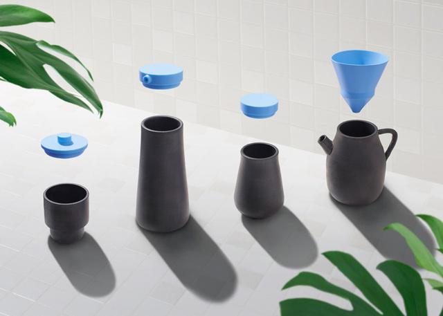 Ezt a kék és betonszürke árnyalatokat kapott készletet a New York-i székhelyű Benwu Studio két kreatívosa, Hongchao Wang és Peng You készítették a dizájn hétre.