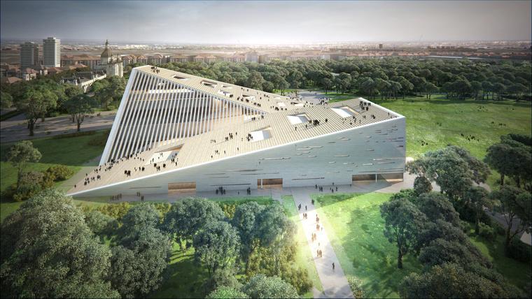 A PECSA helyére tervezett Nemzeti Galéria épülete