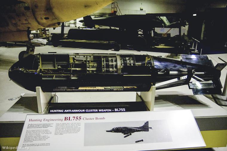 A BL755 típusú, MK3-s változatú kazettás bomba, ezt a típust használták a bombázás során.