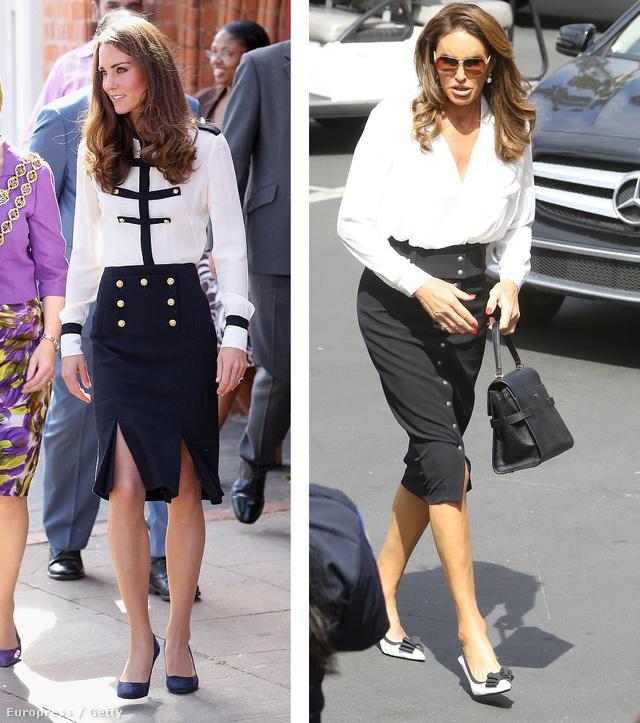 A fekete-fehér klasszikus párosa is jól áll mindkettőjüknek:Katalin 2011 augusztusában vett részt egy protokolleseményen ebben a szettben, Jenner 2015. szeptemberében indult tárgyalni borús arccal. Volt oka a rosszkedvre, I am Cait című realityje rosszul teljesített, és pont erről kellett beszélnie.
