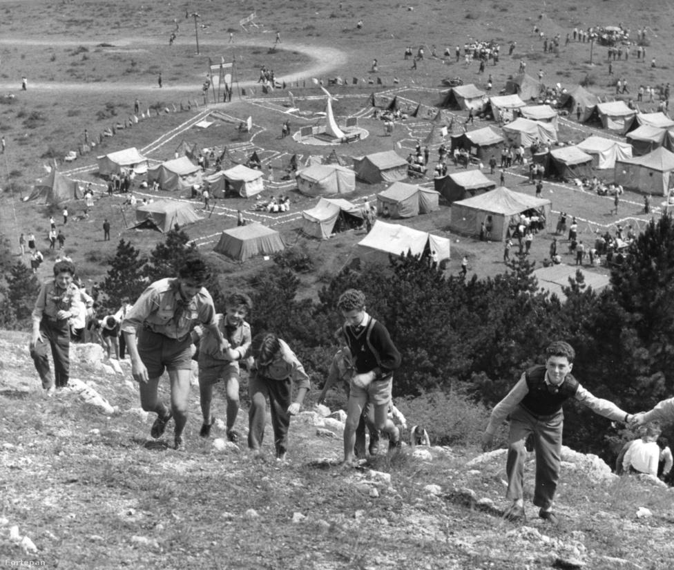 A Csillebérci Úttörőtábor egészen a 70-es évekig jellemzően sátortábor volt. 1948-as létrehozásakor még Úttörő Köztársaság néven futott, 1950-ben készült el teljesen, önkéntes építőbrigádok munkájával. Ekkor még csak három terméskőből készült, hullámpalával fedett épület állt a táborban, amelyben nyáron a lányok laktak, télen pedig itt tartották a vezetőképzéseket. Melegvíz és fűtés ekkor még nemigen volt az épületekben, a fejlesztés második hulláma csak 1970-ben indult meg. Ekkortól viszont már saját konyhája, postája, stadionja és színpada is volt a csillebérci tábornak, és felépültek a fa pavilonok, valamint a parancsnoki épületek is.