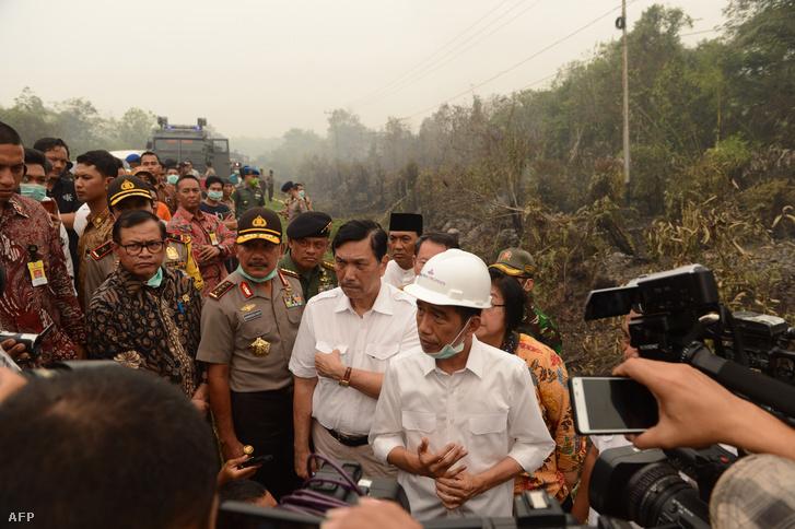 Joko Widodo indonéz elnök és Luhut Pandjaitanbiztonsági koordinációs miniszter ellenőriznek egy oltási műveletet egy égő tőzegföldön Borneó szigetén, Kalimantan tartományban 2015. szeptember 24-én.
