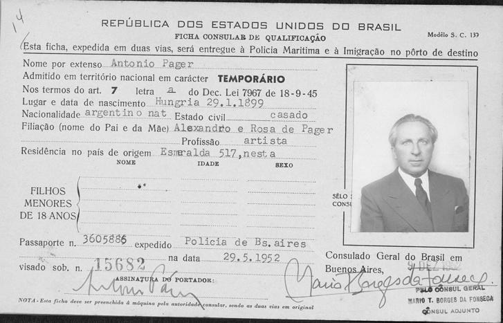 Páger Antal itt már argentin állampolgárként fordult a brazil konzulátushoz