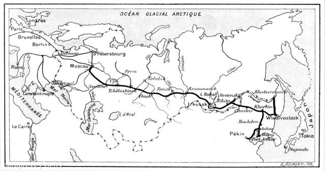 Térkép a vasútvonalról a francia La Nature magazin   egyik számából.