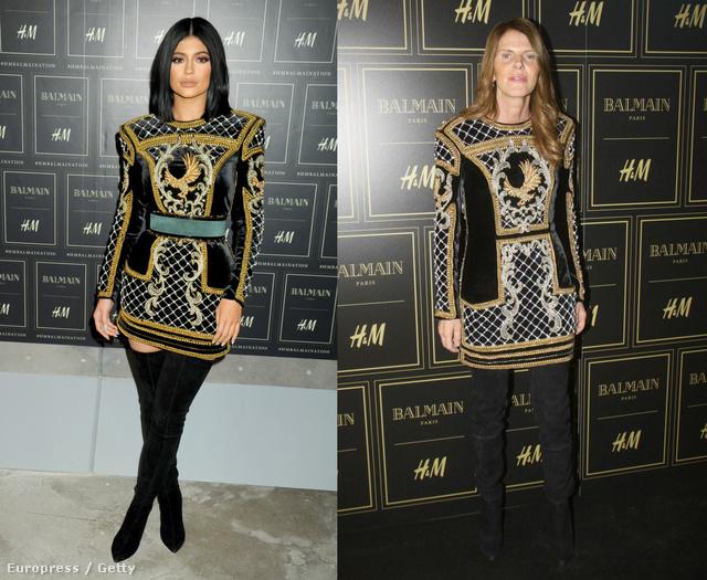 Kylie Jenner és Anna Dello Russo osztozott a fekete-arany-fehér, madaras ruhán