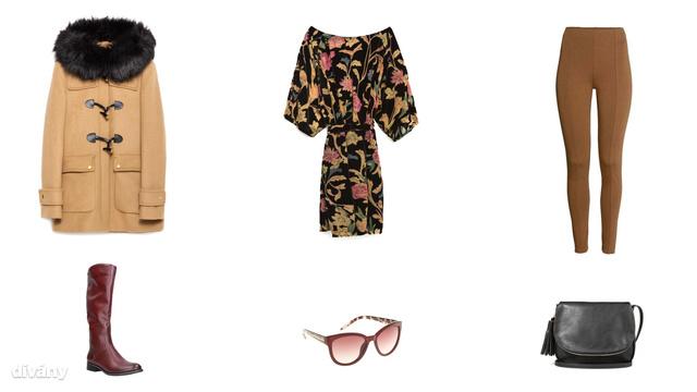 Kabát - 47995 Ft (Zara), ruha - 17995 Ft (Zara), leggings - 3990 Ft (H&M), csizma - 11500 Ft (CCC), napszemüveg - 4995 Ft (Parfois), táska - 3995 Ft (Stradivarius)