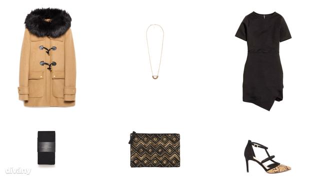 Kabát - 47995 Ft (Zara), nyaklánc - 5995 Ft (Mango), ruha - 5990 Ft (H&M), harisnya - 3995 Ft (Zara), táska - 5290 Ft (F&F), cipő - 25 font (Asos)