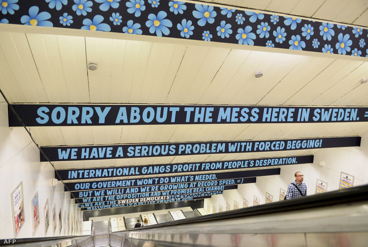 A Svéd Demokraták reklámja a stockholmi metróban