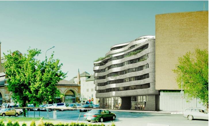 A transzformátorház elé tervezett új hotel látványterve