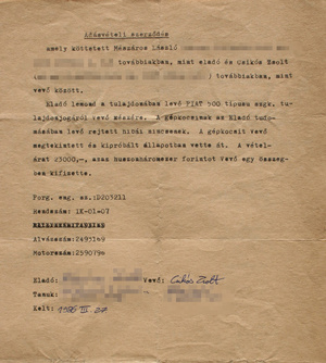 1986. március, a Fiat adásvételije. Jogsim másfél év múlva, novemberben lett
