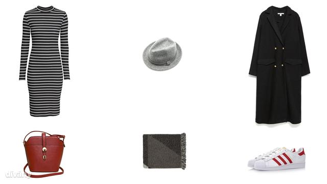 Ruha - 5990 Ft (H&M), kalap - 4995 Ft (Stradivarius), kabát - 14995 Ft (Zara), táska - 2900 Ft (Asia Center), sál - 4900 Ft (F&F), cipő - 65 font (Adidas/Asos)