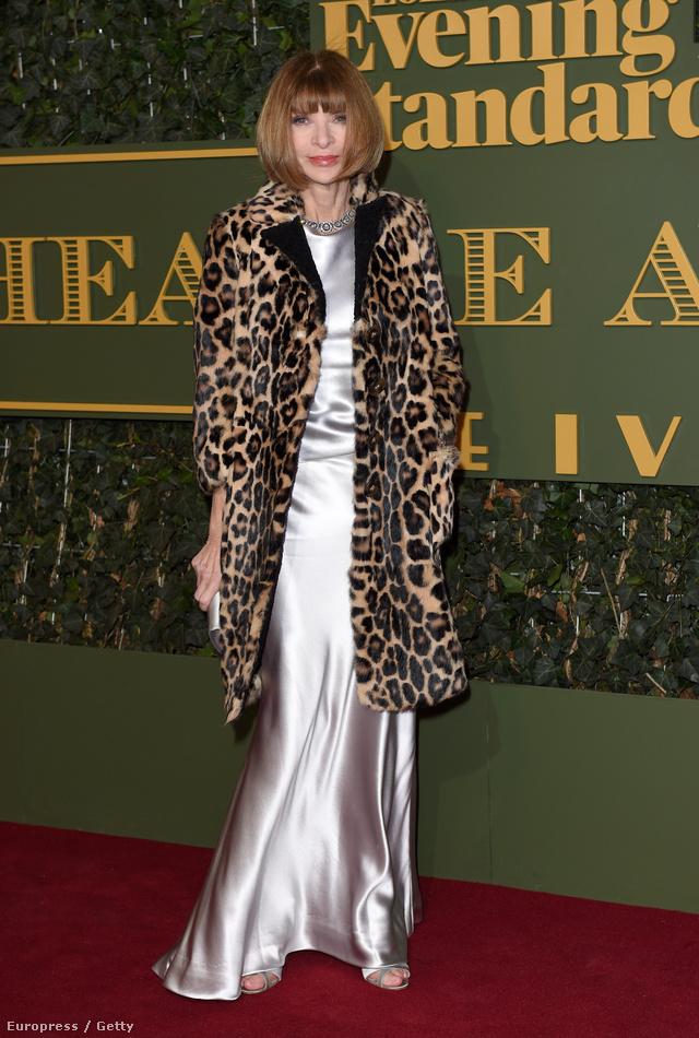 Anna Wintour sem hagyta az autóban az állatmintás bundát az Evening Standard Theatre Awards napján Londonban.