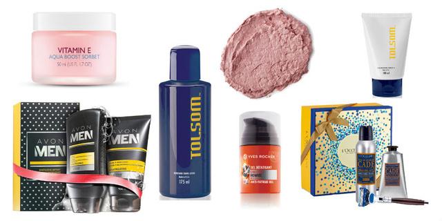 E-vitaminos arcápoló - 4190 Ft (The Body Shop), Arcápoló csomag - 1699 Ft (Avon), Frissítő -6900 Ft (Tolsom), Arcpakolás - 2690 Ft (Lush), Arckrém - 4500 Ft (Yves Rocher), Arcápoló tej - 7300 (Tolsom), Borotválkozó csomag - 31.400 Ft (L'Occitane)