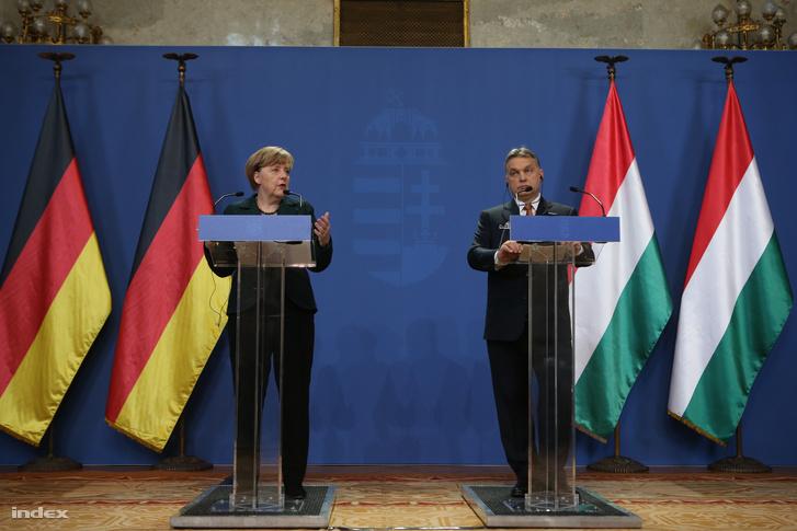 Angela Merkel és Orbán Viktor közös sajtótájékoztatója Budapesten, 2015. február 2-án.