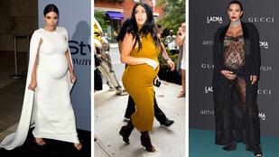 Nézze meg Kim Kardashian terhesruháit!