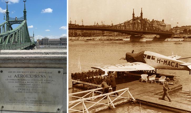 Junkers F-13 hidroplán és az emléktábla a Szabadság hídnál.