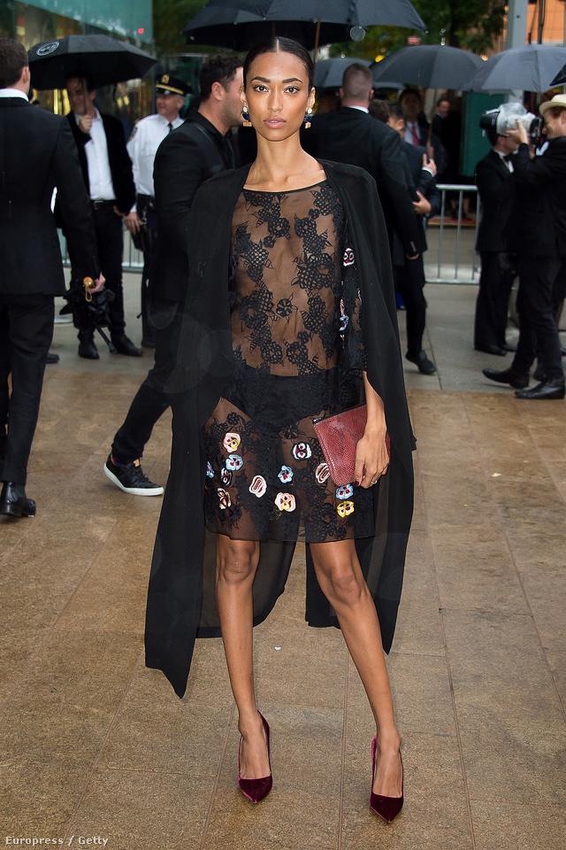 """A modell, Anais Mali ebben a fekete bugyiban és áttetsző Sophie Theallet """"ruhában"""" jelent meg az idei CFDA Fashion Awardson New Yorkban."""