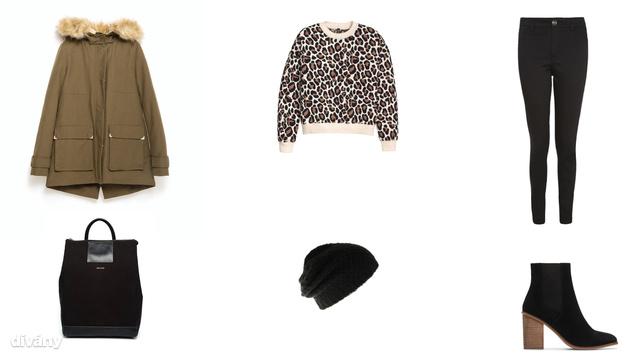 Kabát - 29995 Ft (Zara), pulóver - 6990 Ft (H&M), nadrág - 6900 Ft (F&F), hátizsák - 95 font (Matt&Nat/Asos), sapka - 2295 Ft (Parfois), bokacsizma - 17995 Ft (Mango)