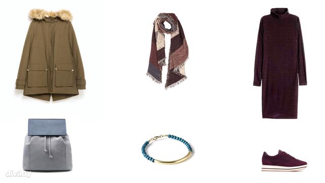Kabát - 29995 Ft (Zara), sál - 4090 Ft (F&F), ruha - 5990 Ft (H&M), hátizsák - 17995 Ft (Mango), karkötő - 9,95 euró (Promod), cipő - 12995 Ft (Zara)