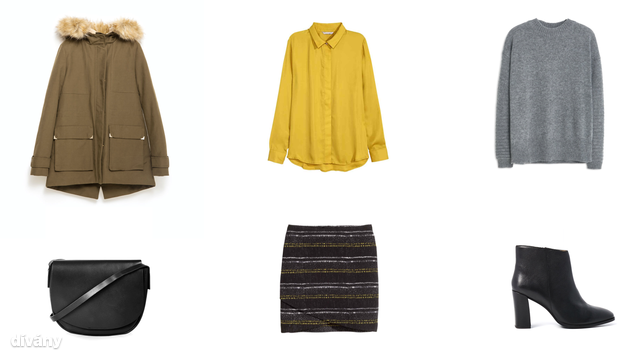 Kabát - 29995 Ft (Zara), blúz - 5990 Ft (H&M), pulóver - 5995 Ft (Mango), táska - 30 font (Topshop), szoknya - 3990 Ft (H&M), bokacsizma - 89,99 euró (Reserved)