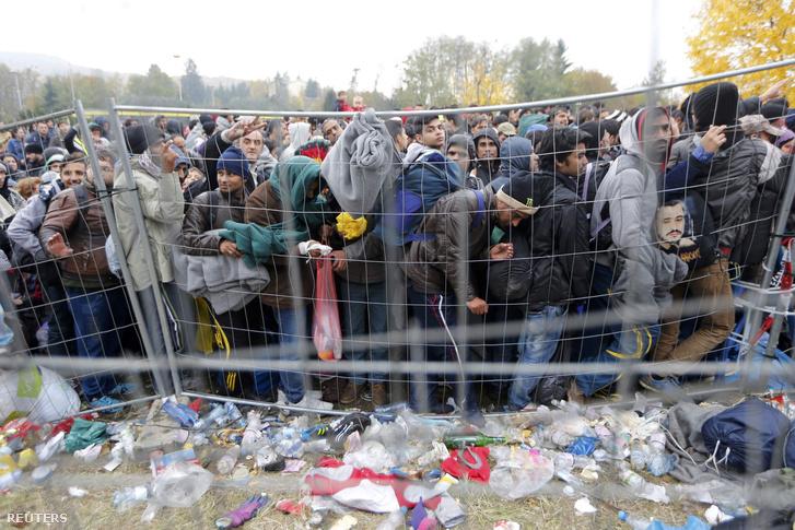 Menekültek az osztrák-szlovén határnál, 2015. október 28-án.
