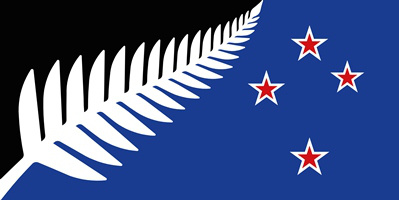 Silver Fern Black White and Blue