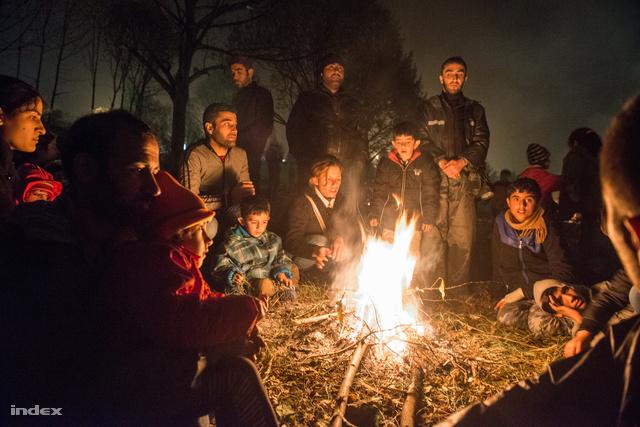 """Ad hoc """"menekülttábor"""" az osztrák-szlovén határnál."""