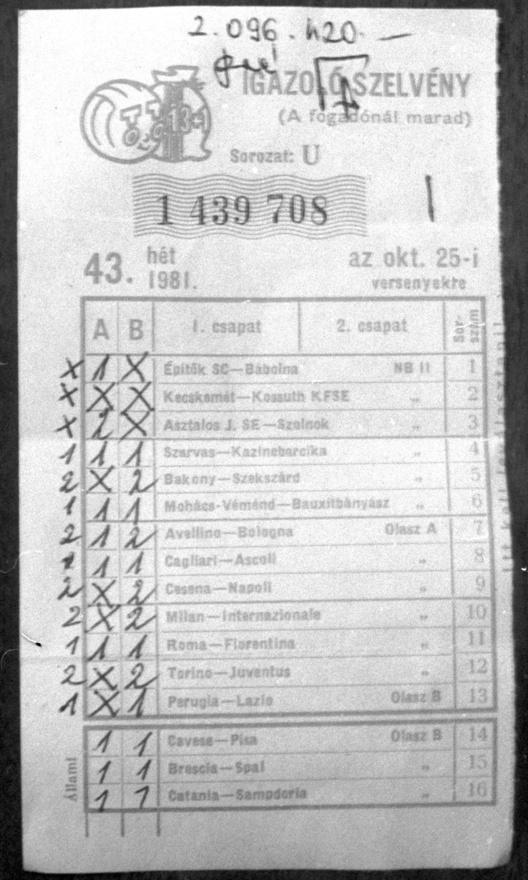 13 találatos TOTÓ szelvény. A szerencsés Dávid János a Petőfi TSZ vasipari üzemének csoportvezetője, aki ezzel a szelvénnyel 2 096 420 forintot nyert. Battonya 1981. november 5.