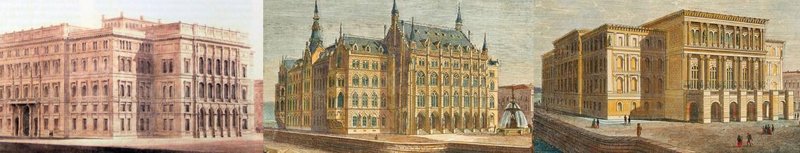 Yblo Miklós, terve, Heinrich Ferstel pályázati terve és Friedrich August Stüler eredeti terve