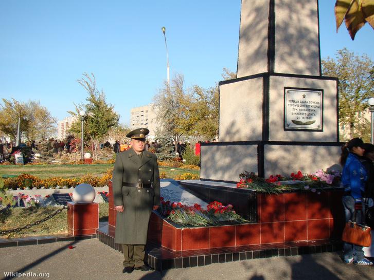 A katasztrófa emlékműve Bajkonurban