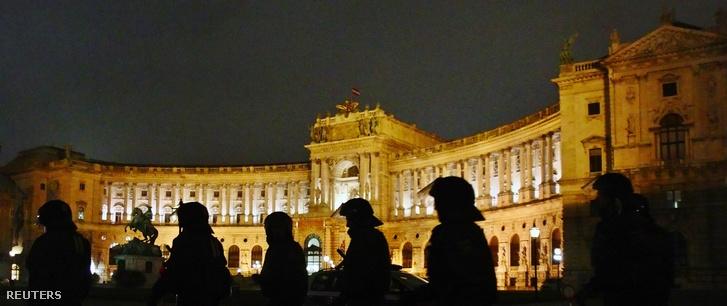Rendőrsorfal a Hofburg előtt 2014. január 24-én.