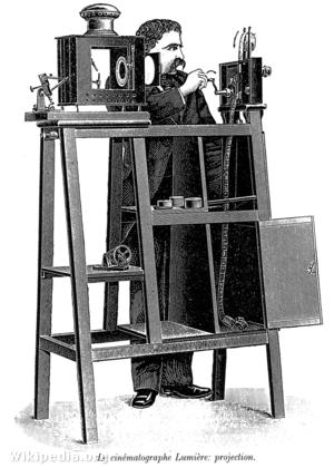 A Lumière-fivérek kinematográfja vetítő üzemmódban (1895)