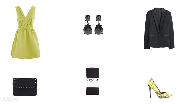 Ruha - 59,95 euró (Promod), fülbevaló - 695 Ft (Parfois), blézer - 8995 Ft (Mango), táska - 7995 Ft (Zara), harisnya - 2990 Ft (H&M), cipő - 42 font (Asos)