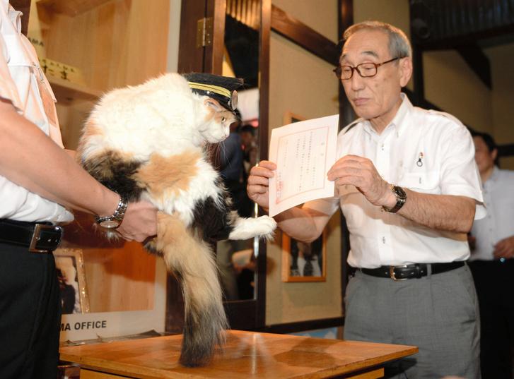 Nitama átveszi megbízólevelét a japán vasút képviselőjétől