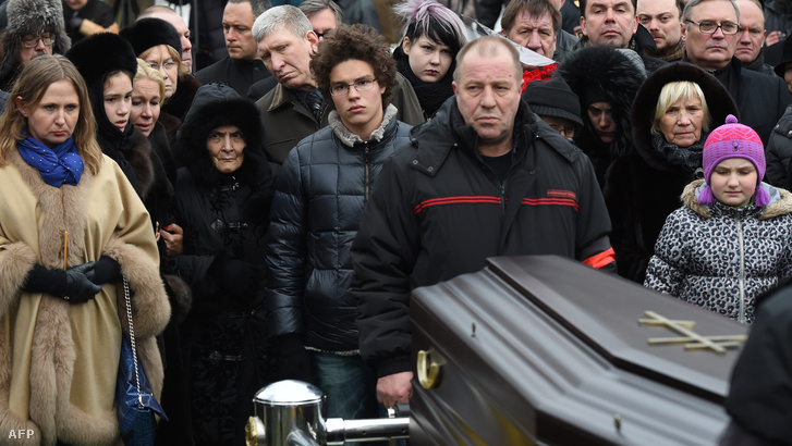 Dina Eidman, Nyemcov édesanyja fia temetésén Moszkvában, 2015. március 3-án.