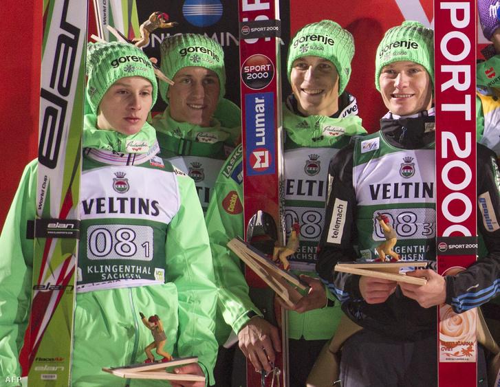 Domen Prevc, Peter Prevc, Jurij Tepes és Anze Lanisek