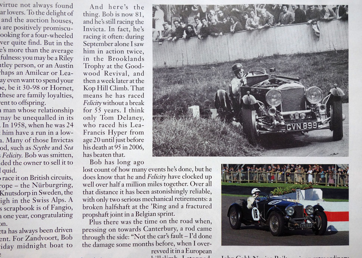 Bob Wood és az ő örök Invictája. Fent 1963, Prescottban, lent a Goodwood Revivalon, 2015-ben
