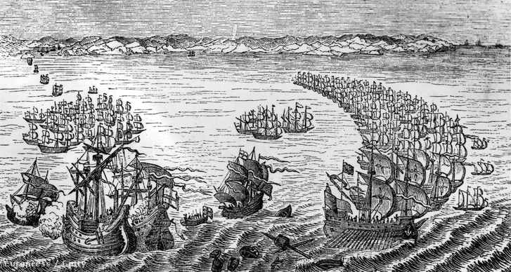 1588. La Manche csatorna. Az Anglia ellen indított spanyol invázióban a Nagy Armada fele elpusztult.