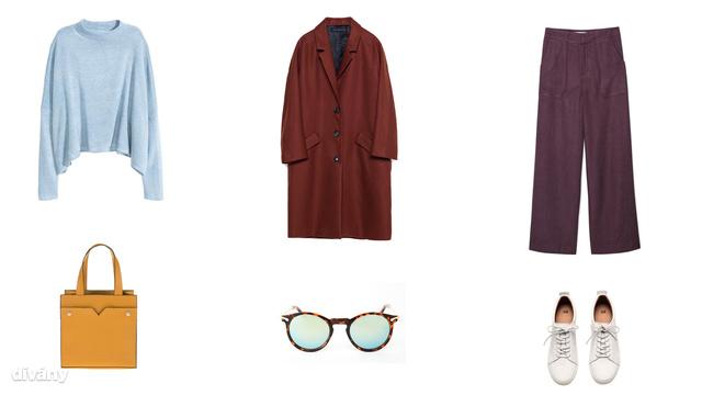 Pulóver - 5990 Ft (H&M), kabát - 19995 Ft (Zara), nadrág - 13995 Ft (Mango), táska - 8995 Ft (Parfois), napszemüveg - 10 font (Asos) , cipő - 12990 Ft (H&M)