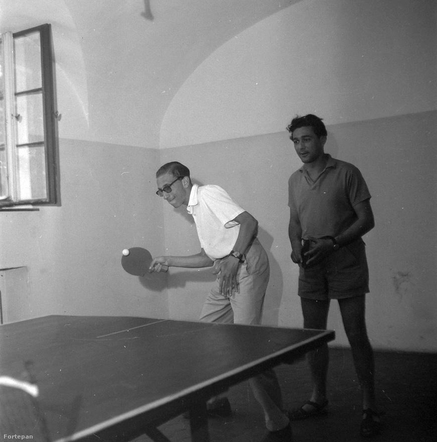 1955, Szigliget, Esterházy-kastély, Somlyó György, Nyugatos költő pingpongozik.