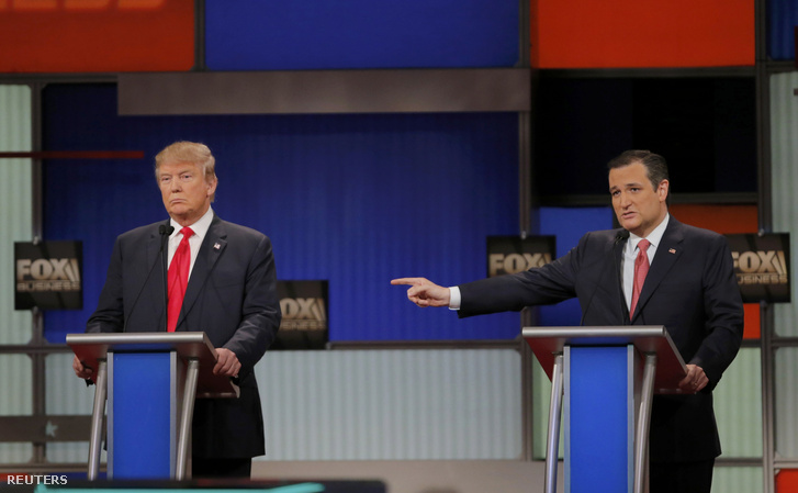 Donald Trump és Ted Cruz a tévévitán a dél-karolinai Charlestonban, 2016. január 14-én.