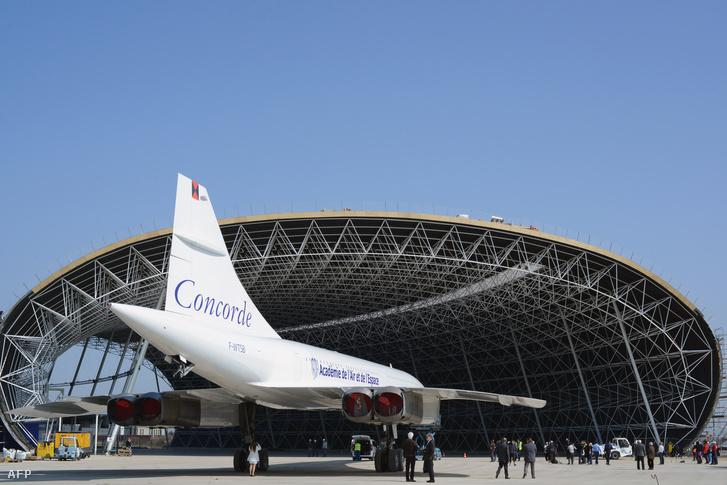A legendás szuperszonikus utasszállító egyik első, Toulouseban készült példánya a franciaországi Blagnac Aeroscopia múzeumában 2014. március 14-én.