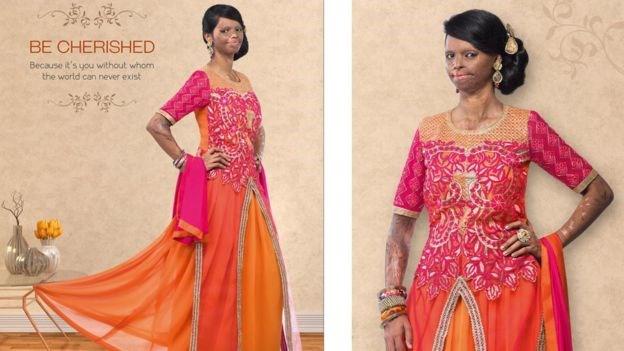 Lesavazott arcú modellel hirdet az indiai márka.