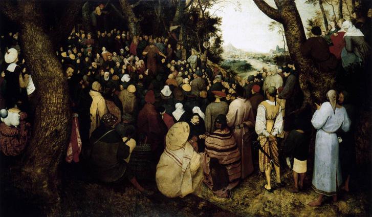 id. Pieter Bruegel Keresztelő Szent János prédikációja című képe