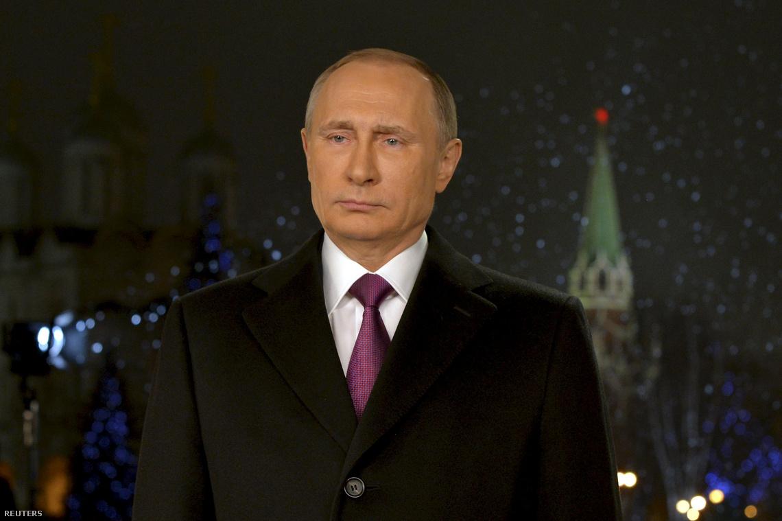 Vlagyimir Putyin a 2016-os újévi beszéde közben.
